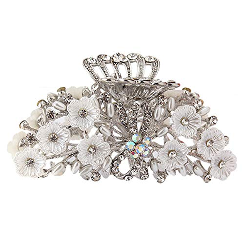 Numblartd Fancy Hair Claw Jaw Clips Pins for Women - Vintage Chic Alloy Rhinestone Crystal No-slip Hair Catch Clamp Hair Clips Hair Updo Grip Hair Accessories (C#)