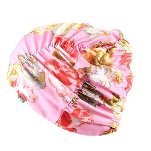 Schwimmhaube Badekappe für charmante Damen Schwimmen Hut Mädchen Lange Haare wasserdichte Badehaube Stretch drapieren Multicolor Blume gedruckt(C,Free)