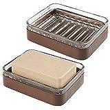 mDesign Juego de 2 porta jabones de bambú y cristal – Práctica y ecológica jabonera para baño – Soporte para jabón para el cuarto de baño o la cocina – transparente/marrón
