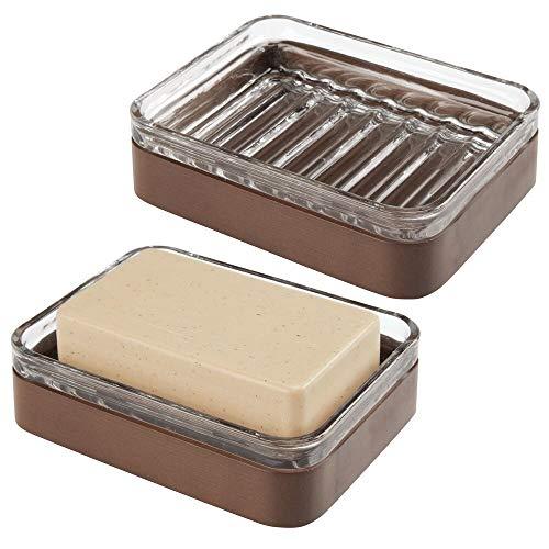 gris Porta jab/ón de silicona compacto Estupenda bandeja para ba/ño y cocina sin montaje de pared mDesign Juego de 2 jaboneras
