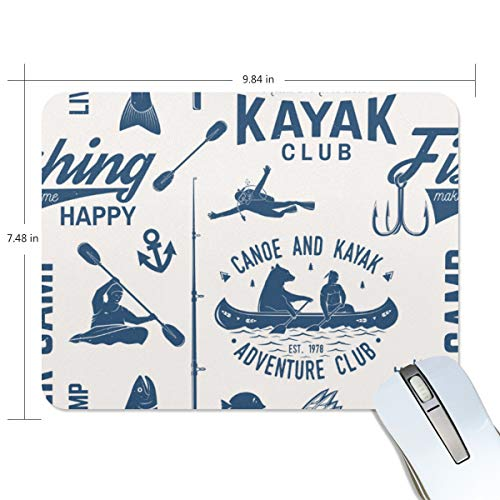 JISMUCI Canoa Kayak Fishing Club Seamless Pattern,Tappetino Mouse Gaming, 190x250x5mm,Antiscivolo Tappetino Scrivania Supporto per Computer