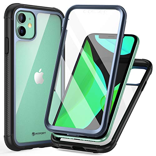 FITFORT iPhone 11 Case with Screen Protector Full-Body Rugged Heavy Duty Clear Bumper Case, Shock Drop Proof Impact Resist Extreme Durable Protective Case Compatible with iPhone 11 (6.1