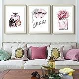 ZLARGEW Perfume Rosa Lienzo Pintura Labios Impresión Tacones Altos Póster Arte Abstracto de la Pared Flor Moda Póster Imagen de Rosa Arte de la Sala de Estar / 30x45cmx3 Sin Marco