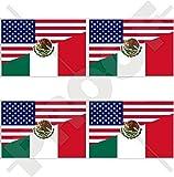 USA Vereinigte Staaten von Amerika und MEXIKO, Amerikanisch und Mexikanische Flagge, Fahne 50mm Auto & Motorrad Aufkleber, x4 Vinyl Stickers