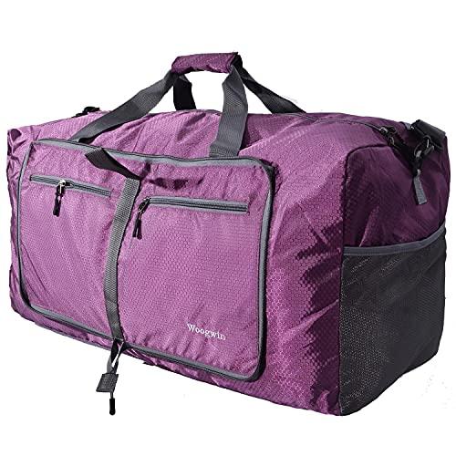Woogwin Travel Duffel Bag Large Foldable Waterproof Overnight Bag for Beach Swim Bags Pool Sports Gym (60L Purple)