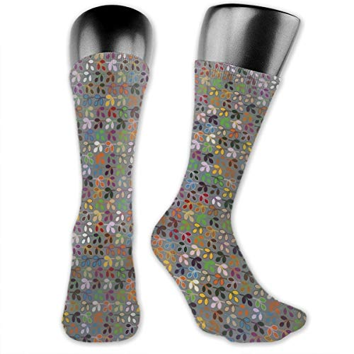 Papalikz Compression Medium Calf Socks,Graphic Foliage Motifs In Lively Colors On A Grey Background Abstract Nature Design