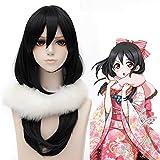 HOOLAZA Black Long Straight Bangs Wig 60Cm Love Live Nico Yazawa Cosplay Wig