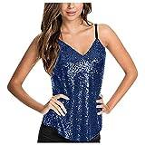 WOZOW Camisole Femmes Chemisier sans Manches Paillettes Bretelles Col en V Camis Débardeur Crop Shirt Hauts T-Shirt à Armatures Sparkle Shimmer(Bleu,L)
