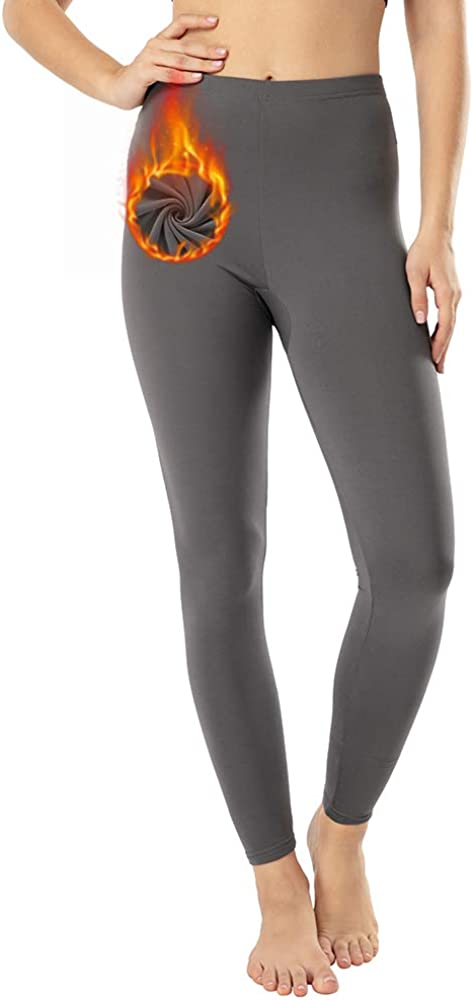 MANCYFIT Thermal Leggings for Women Fleece Lined Pants Long Underwear Bottoms at  Women's Clothing store