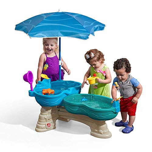 Step2 Spill & Splash Seaway Water Table | Kids Dual-Level Water Play Table with Umbrella & 11-Pc...