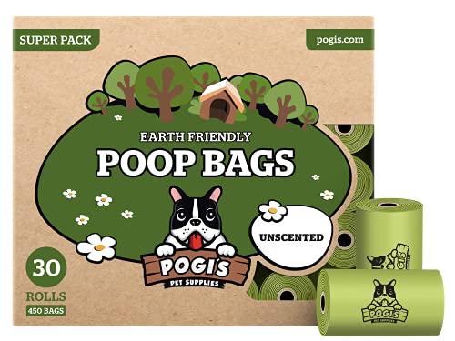Pogi's Poop Bags - 30 Unscented Rolls (450 Dog Poop Bags) - Leak-Proof, Earth-Friendly Poop Bags for Dogs