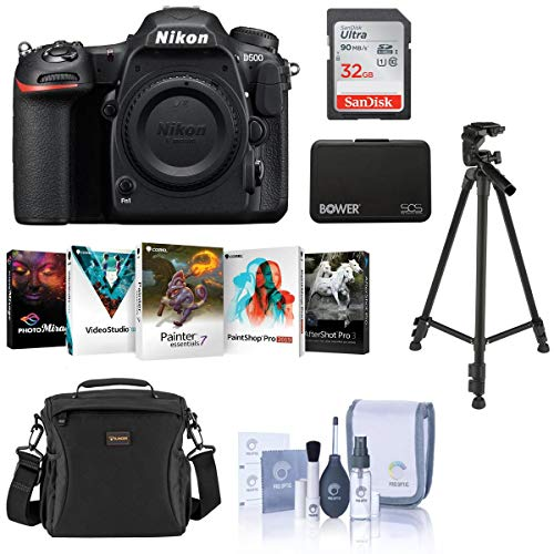 Nikon D500 DX-format DSLR Body - Bundle With 32GB SDHC Card, Holster Bag, Tripod, Memory Wallet, Cleaning Kit, Software Package