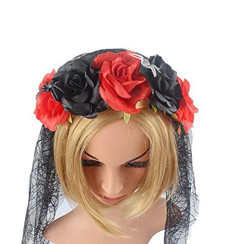 Cintas de Pelo para Mujer, Fiesta De Halloween Negro Rojo Diadema Rose Bruja Araña De Simulación De Maquillaje, Halloween Hebilla De Cabeza De Malla Suave Cabeza Envuelva Hairband Novedad Acce