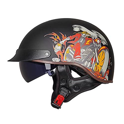 DLXYch Cascos de motocicleta, Hombre Y Mujer Personalidad Harley Half Helmets, Scooter Four Seasons Scooter Cascos, Transporte Ligero Medio Cascos XL I