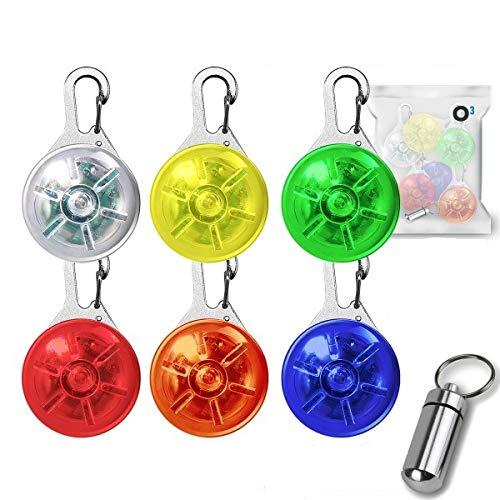 O³ Leuchtanhänger // 6 Stück // Verschiedene Farben // Sicherheitsclip mit 3 Leuchtmodi // Blinklicht Schulranzen, Kinder, Hunde, Katzen, Jogger, Fahrradfahrer, Camper // Adressanhänger gratis