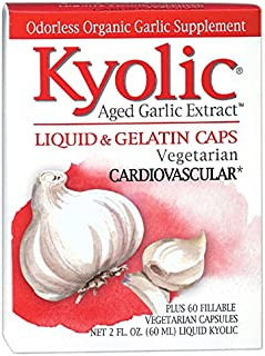 Kyolic Aged Garlic Extract Vegetarian Liquid Cardiovascular, 2-Ounce Bottle plus 60 Refillable Capsules