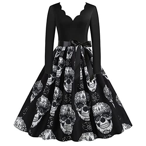 Orderking Halloween Damen Kleid Kostüm Weihnachten 1950er Jahre Hausfrau Rundhals Langarm Lässigmit Halloween Print Kleid Reißverschluss Party Abendkleid Halloween Kostüm (Black-7, XXXL)