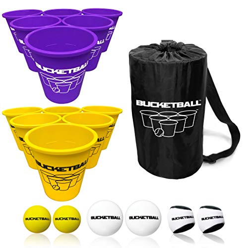 BucketBall - Team Color Edition - Combo Pack (Purple/Yellow): Original Yard Pong Game: Best Camping, Beach, Lawn, Outdoor, Family, Adult, Tailgate Game