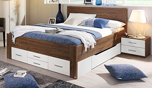 Rauch Bett mit 6 Schubkästen Eiche Stirling/alpinweiß 180 x 200 cm Schubladenbett Funktionsbett