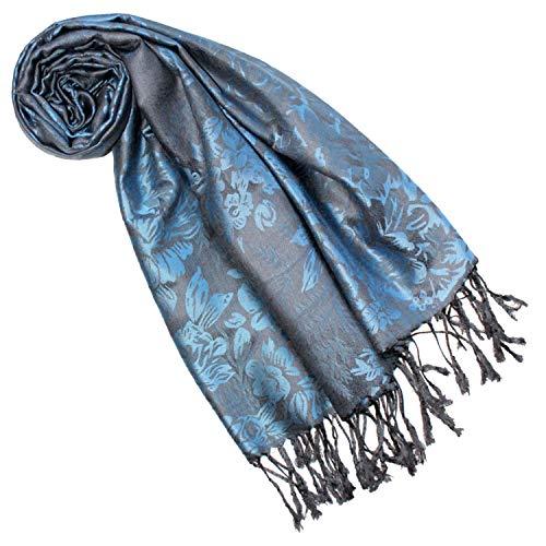 Lorenzo Cana Damen Designerpashmina Damenmarkenschal blau grau floral gewebtes Blumenmuster Damastwebung 70 cm x 180 cm Naturfaser Modal Schaltuch Schal Frauentuch 9323677