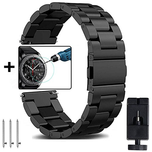 OTOPO Samsung Galaxy Watch 46mm & Gear S3 Armband Frauen Männer, 22mm Metallarmband Armband Edelstahl Uhrenarmband Ersatz für Samsung Gear S3 Frontier / S3 Classic & Galaxy Watch 46mm Smart Watch