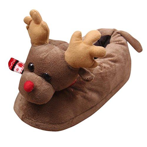 Odejoy Unisex Pantofole Peluche Natale Adulti Plush 3D novità di Natale Pantofole Renna Unisex Inverno Caldo Indoor Natale Peluche Pantofole Casa Cotone Scarpe