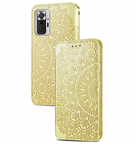 JIAFEI Funda para Xiaomi Redmi Note 10 Pro Billetera, Premium Elegante PU + TPU Flip Billetera Leather Case Cover Estuche, Amarillo