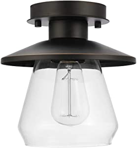 Globe Electric 64846 Nate Light Semi-Flush Mount, Oil Rubbed Bronze with Clear Glass Shade, 8""