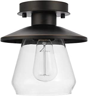 Globe Electric 64846 Nate Light Semi-Flush Mount, Oil Rubbed Bronze with Clear Glass Shade, 8
