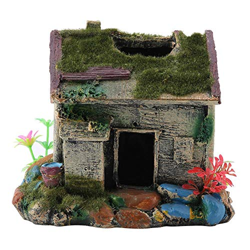 FTVOGUE Aquarium hars huis met mos terrariums vis tank decoraties hagedis spin verbergen grot