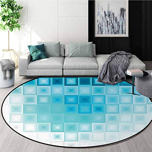 Best Buy! Abstract Modern Machine Round Bath Mat,Mosaic Style Soft Toned Fractal Square Shapes With ...