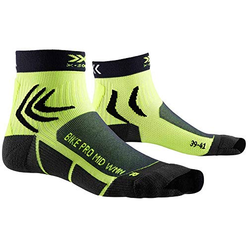 X-Socks Bike PRO, Calzini da Ciclismo Donna, Charcoal/Phyton Yellow, 41-42