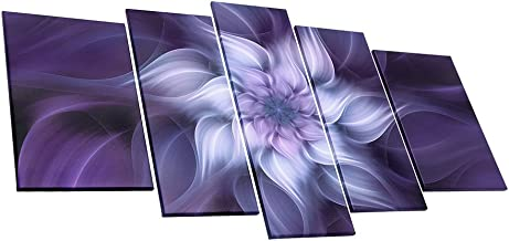 uLinked Art Bauhinia Chinese Redbud Purple Flower Plant Botany Picture Artwork 5 Panel Oil Painting On Canvas Print Home Decoration by Size Of 40x60cmx2, 30x70cmx2, 30x80cm