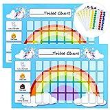 GWHOLE 2 Piezas Tablas de Entrenamiento de IR al Baño para Niños, Tablas de recompensa de Potty Chart Toilet Chart Infantiles - Viene con 6 Hojas Pegatinas