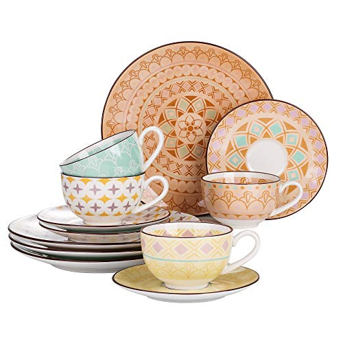 Juego de tazas de café de porcelana con platos de Vancasso