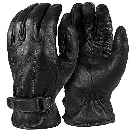 Tarjane® Herren Lederhandschuhe | Winterhandschuhe aus Schafsleder - Schwarz - 12