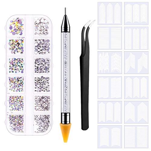 1440 Stück Strasssteine, StrasssteineNägel mit Französisch Maniküre Nagel Kunst Sticker, Pinzette und Picker Punktierstift für Bastelnägel