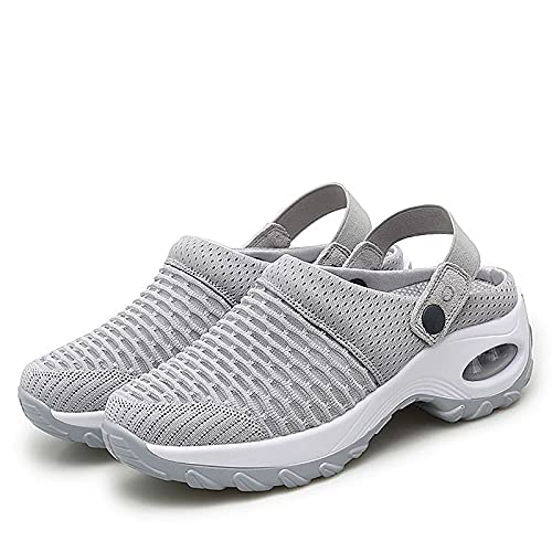 MIAOJIE Women's Breathable Casual Air Cushion Slip-on Shoes Mesh Orthopedic Walking Sandals Mesh Slip on Air Cushion Garden Shoes Outdoor Gym Running Sneakers,Gris,35