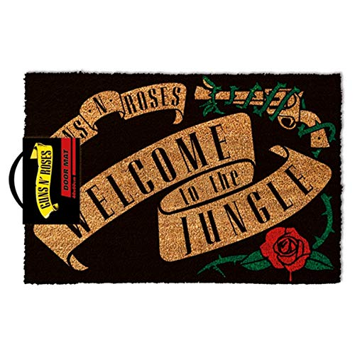 Guns N' Roses - Felpudo Multicolor con Texto (en inglés) «Welcome to The Jungle Medidas: 40 x 60 cm.