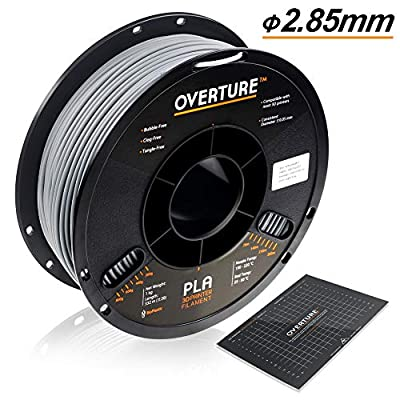 OVERTURE 2.85mm PLA Filament with 3D Build Surface 200mm × 200mm 3D Printer Consumables, 1kg Spool (2.2lbs), Dimensional Accuracy +/- 0.05 mm, Fit Most FDM Printer, Light Gray