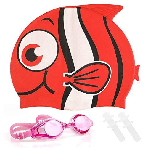 FANDE Cuffia da Nuoto Bambini Cuffia Piscina Silicone,Tappi per Orecchie in Silicone, Occhialini da Nuoto, Cuffia Piscina squalo in Silicone (rosso)