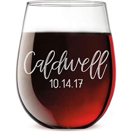Personalized Etched Monogram 17oz Stemless Wine Glass Caldwell Wine Glasses