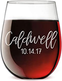 Personalized Etched Monogram 17oz Stemless Wine Glass