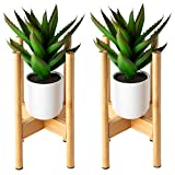 2 Pack Bamboo Flower Pot Stands – 15 to 30in Tall 2 Tier Indoor Plant Stand That Will Improve The Aesthetics of Your Living-Room, Bedroom, Patio & More – Adjustable Modern Décor Plant Stand