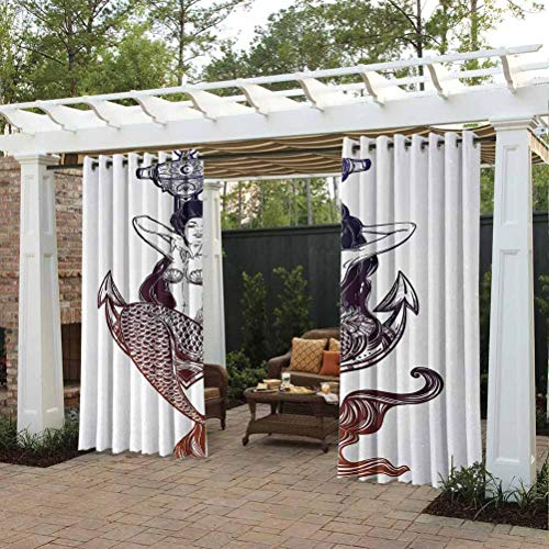 crabee Anchor Pergola Outdoor Curtain Panel Terrace Near Bushes and Villa Yard Sketch Style Mermaid with Seashells and Scales Mythological Creature Design Navy Blue and White