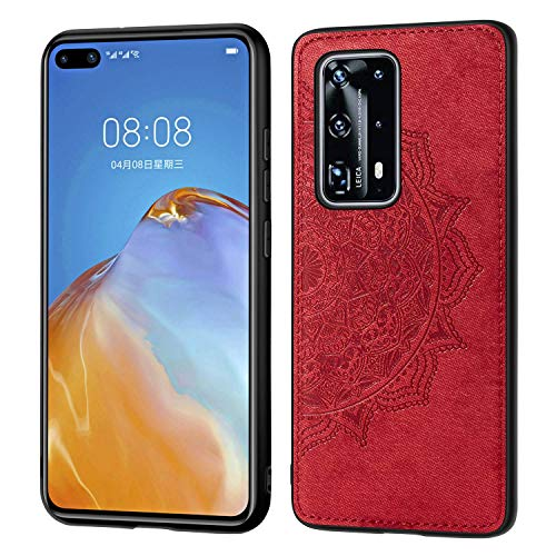 Grandcase Huawei P40 Pro+ Case,Ultra thin PU Leather Soft Flexible TPU Bumper Anti-Slip Scratch Resistant Protective Cover for Huawei P40 Pro+ 6.58' -Red