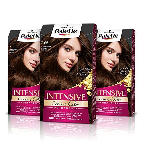 Schwarzkopf Palette Intensive Creme Color - Tono 3.65 cabello Castaño Chocolate (Pack de 3)Coloración Permanente de Cuidado con Aceite de Marula, cobertura de canas, Color duradero hasta 8 semanas