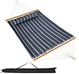VALLEYRAY Hammock with Spreader Bars, Double Hammock with Pillow, Quilted Fabric Hammock with Wooden Spreader Bar and Chains for 2 Persons, 450 Capcity.