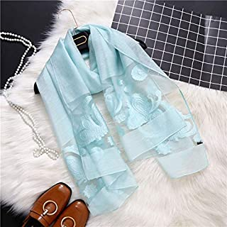 SILWJPF Designer Brand Women Scarf Fashion Hollow Embroidery Lady Shawls And Wraps Spring And Summer Sunscreen Beach Stoles