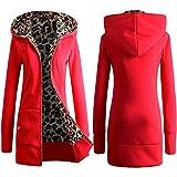 NOBRAND - Abrigo de invierno para mujer, diseño de leopardo, con estampado de patchwork, forro polar, manga larga, con cremallera, para mantener abrigado Rojo rosso XXL